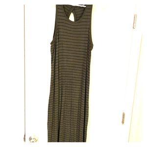 Express olive green black striped maxi dress